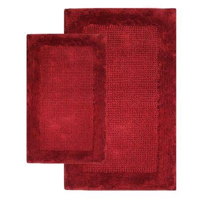 2 Piece Contemporary Bath Rug Set Color: Wine