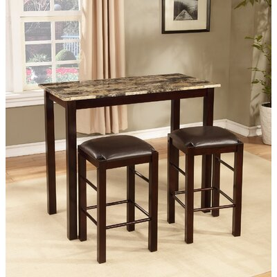 Cardella 3 Piece Counter Height Wood Dining Set