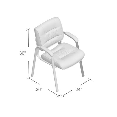 Leather Blend Guest Chair Leather Color: White Leather, Frame Finish: Black metal frame
