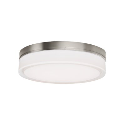 1-Light Flush Mount Finish: Satin Nickel, Size: 2.2 H x 6 W x 6 D, Bulb Type: 1x10W 800 Lumen LED