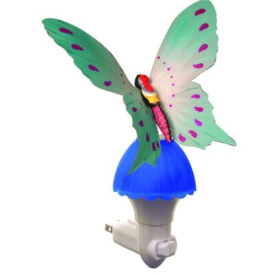 Ayana Fiber Butterfly Night Light Color: Blue