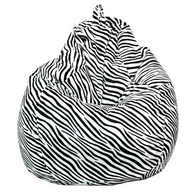 Jack Tear Drop Zebra Safari Bean Bag Lounger Color: Black/White