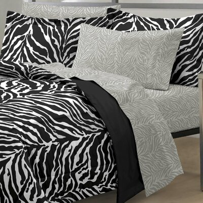 India 5 Piece Bed-In-A-Bag Set Size: Twin Extra Long, Color: Black