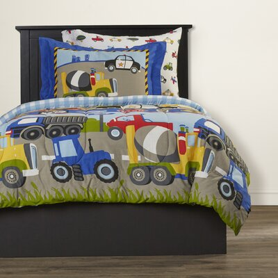 Kaylie Trans & Trucks 5 Piece Twin Bed-In-A-Bag Set