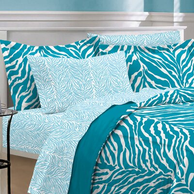 India 5 Piece Bed-In-A-Bag Set Size: Twin Extra Long, Color: Aqua