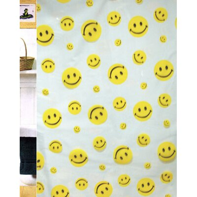 Yuliana Vinyl Happy Face Shower Curtain
