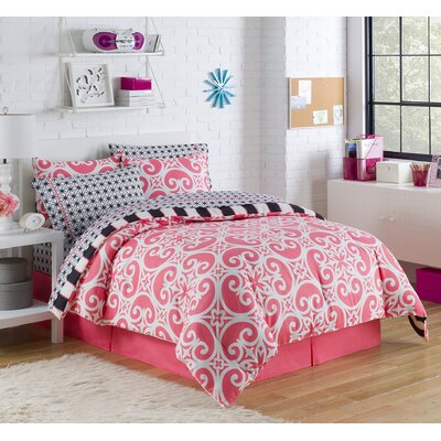 Mayra Reversible Bed-In-A-Bag Set Color: Coral, Size: Twin