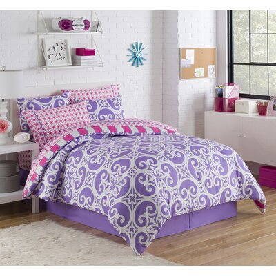 Mayra Reversible Bed-In-A-Bag Set Color: Purple, Size: Twin