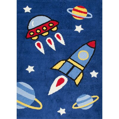 Darian Flying Spaceships Navy Area Rug Rug Size: Rectangle 5 x 76
