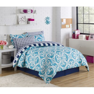 Mayra Reversible Bed-In-A-Bag Set Color: Teal, Size: Twin