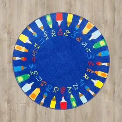 Deandre Baby Blue Shag Area Rug Rug Size: Round 8'
