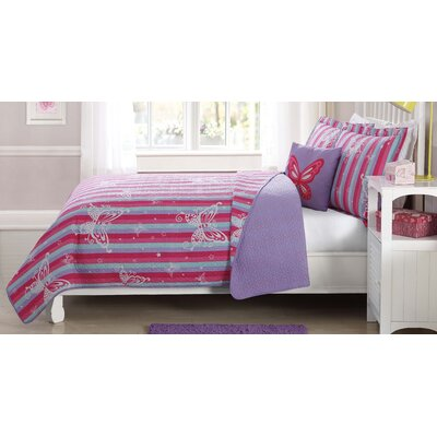Alan Butterfly Striped Quilt Mini Set Size: Twin