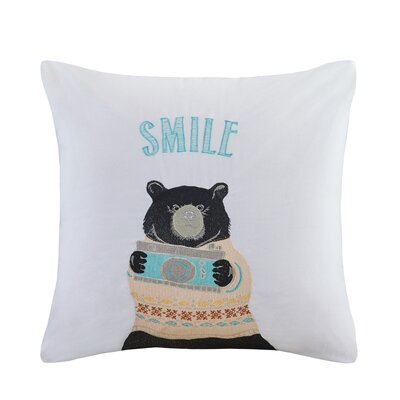 Alicia Bear Embroidered Cotton Throw Pillow