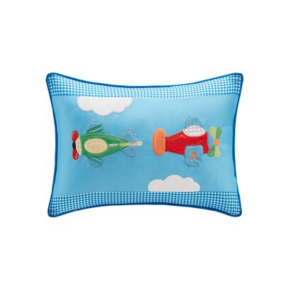 Alton Plush Airplane Applique and Printed Throw Pillow