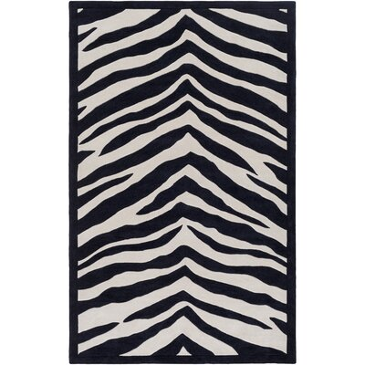 Alvin Hand-Tufted Black/Ivory Area Rug Rug size: 76 x 96