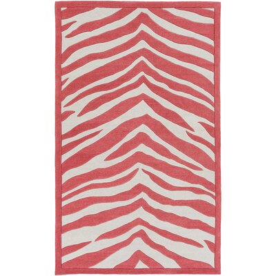 Alvin Hand-Tufted Bright Pink/Ivory Area Rug Rug size: 76 x 96