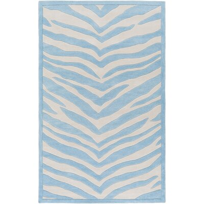 Alvin Hand-Tufted Sky Blue/Ivory Area Rug Rug size: 76 x 96