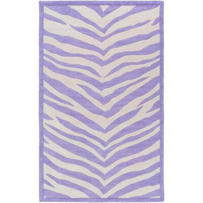 Alvin Hand-Tufted Violet/Ivory Area Rug Rug size: 76 x 96