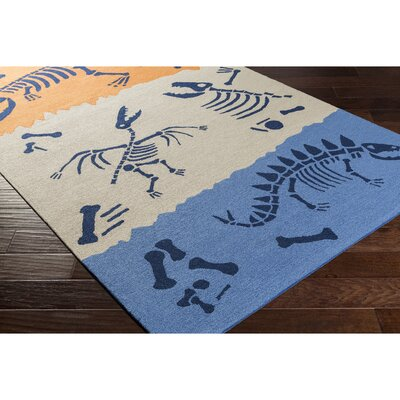 Alyssa Hand-Hooked Blue/Neutral Area Rug