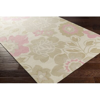 Blake Hand-Hooked Khaki Area Rug Rug size: Rectangle 5 x 76