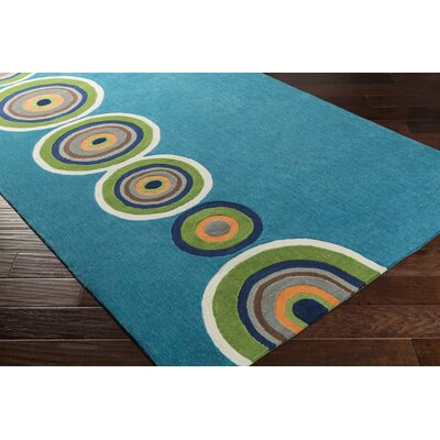 Cesar Hand-Tufted Bright Blue Area Rug Rug size: 3 x 5
