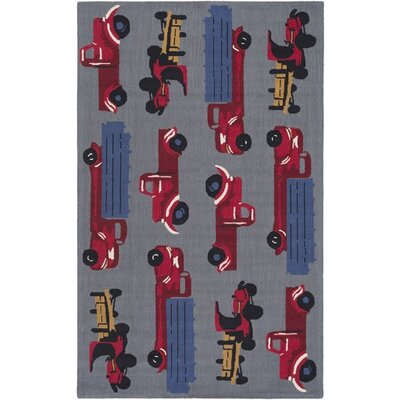 Blossom Hand-Hooked Gray/Red Area Rug