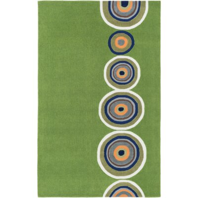 Cesar Hand-Tufted Green/Orange Area Rug Rug Size: Rectangle 5 x 76
