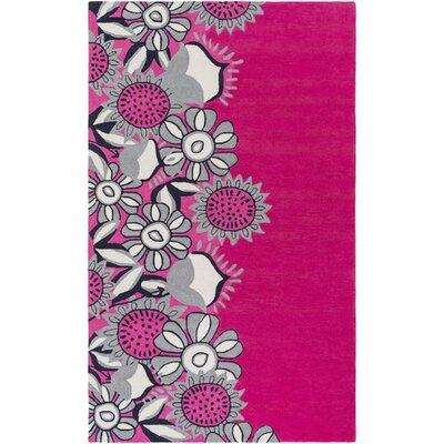 Cesar Hand-Tufted Pink/Gray Area Rug Rug Size: Rectangle 5 x 76