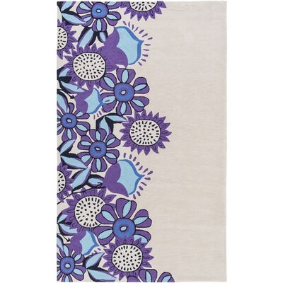 Cesar Hand-Tufted Neutral/Purple Area Rug Rug Size: 2 x 3