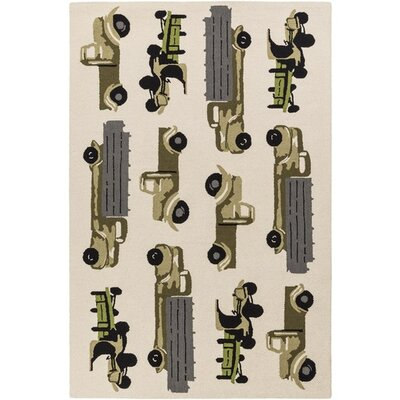 Blossom Hand-Hooked Neutral/Black Area Rug Rug Size: Rectangle 5 x 76