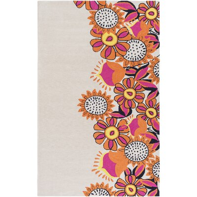 Cesar Hand-Tufted Neutral/Orange Area Rug Rug Size: 2 x 3