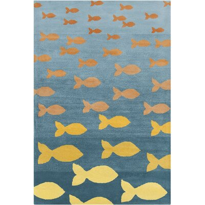 Blair Hand Tufted Wool Turquoise/Orange Area Rug