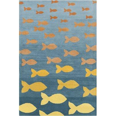 Blair Hand Tufted Wool Turquoise/Orange Area Rug