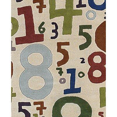 Caroline Beige Number Area Rug Rug Size: 5 x 76