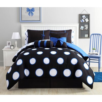 Amos Comforter Set Color: Black/Blue, Size: Full