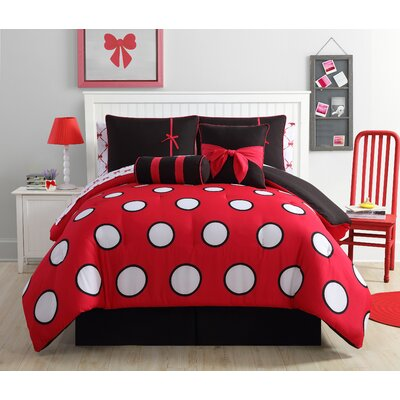 Amos Reversible Comforter Set Color: Red/Black, Size: Full