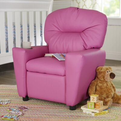 Candy Kids Recliner with Cup Holder Upholstery: Vinyl - Hot Pink ZMIE2070 34651363