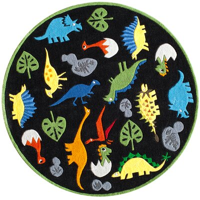 Barbra Hand-Tufted Black Kids Rug Rug Size: Round 5