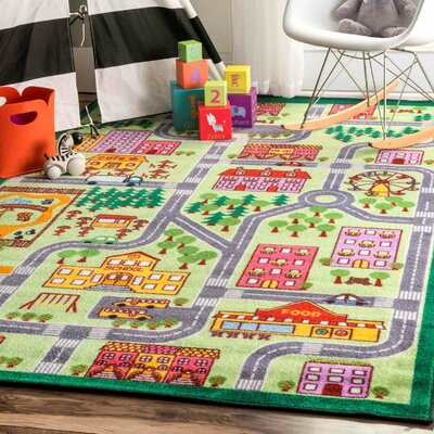 Rhoda Kids Map City Area Rug Rug Size: Rectangle 5 x 75