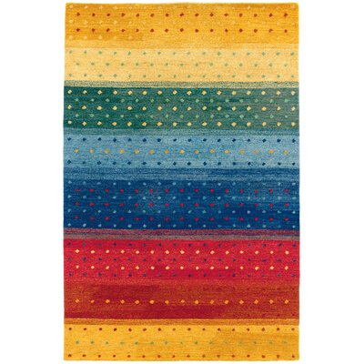 Bette Rainbow Hand-Woven Yellow/Blue Area Rug Rug Size: Rectangle 56 x 8