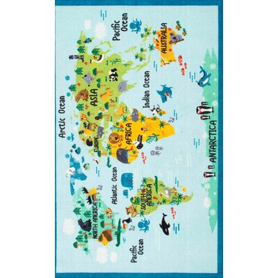 Rhea Kids Animal World Map Blue/Green Area Rug Rug Size: Rectangle 33 x 5