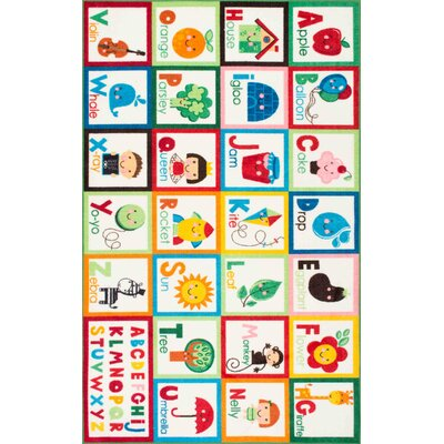 Rebekah Kids Alphabet Red/Green Area Rug Rug Size: Rectangle 33 x 5