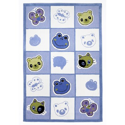 Wilda Checkerboard Friends Blue Area Rug Rug Size: Rectangle 76 x 96