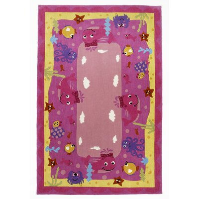 Wilda Ocean Friends Pink Area Rug Rug Size: 33 x 53