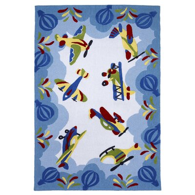 Wilda Friendly Skies Blue Area Rug Rug Size: Rectangle 33 x 53
