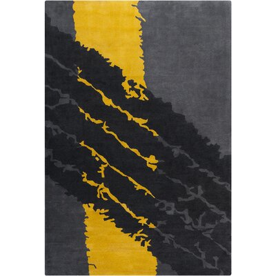 Blair Hand Tufted Wool Gray/Yellow Area Rug Rug Size: 5 x 76