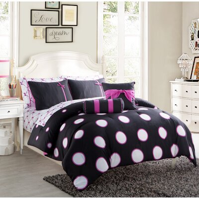 Amos Comforter Set Size: Full, Color: Black/Pink