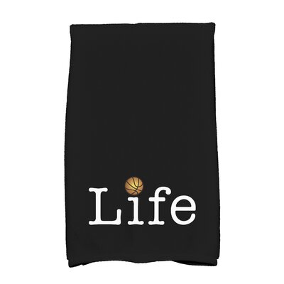 Bauer Life and Ball Word Hand Towel Color: Black