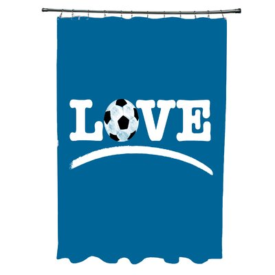 Bauer Love Soccer Word Shower Curtain Color: Teal
