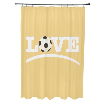 Bauer Love Soccer Word Shower Curtain Color: Yellow
